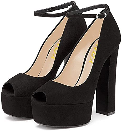 Amazon.com | YDN Women Peep Toe Extreme High Chunky Heel Platform .