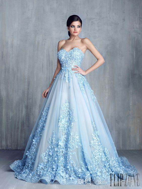 Tony Chaay Sky Blue 3D Floral Formal Prom Dresses 2019 Modest .