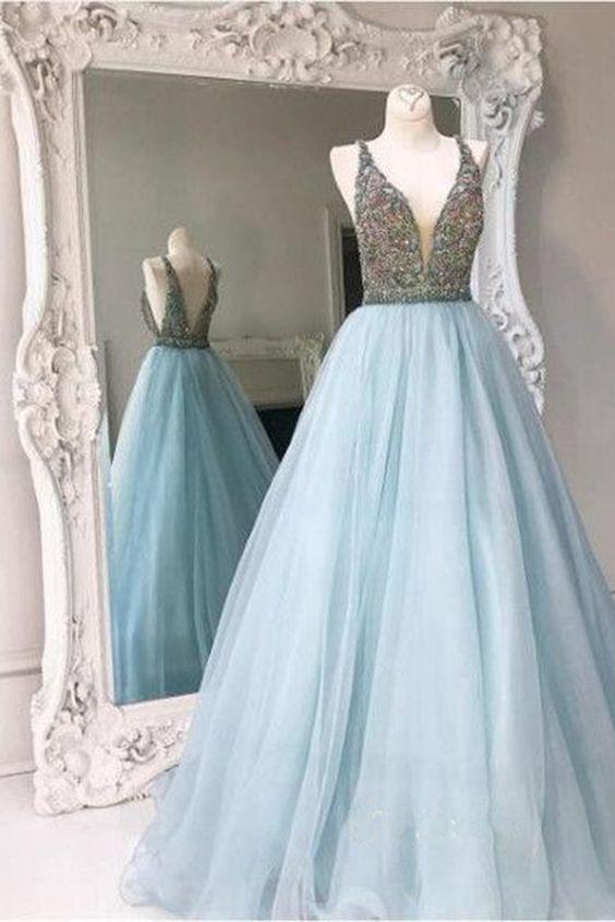 Disney Prom Dress,Cinderella Prom Dress,Ball Gown Prom Dress,Blue .