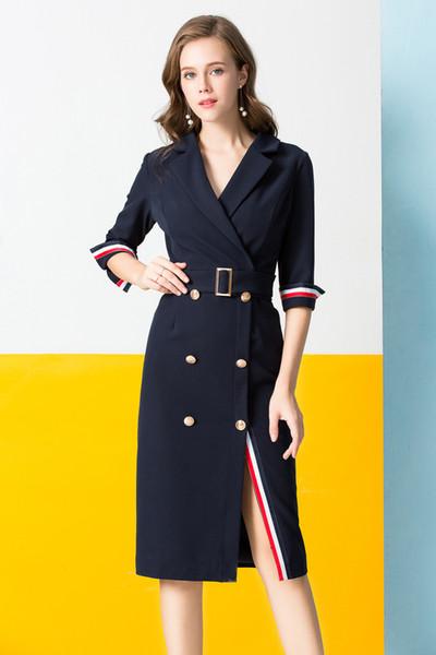 2019 Women Long Woolen Coat Dress Fashion Slim Double Breasted .