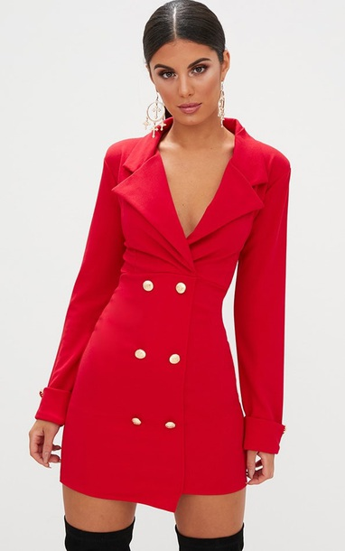 dress, red dress, red coat, red, coat, buttons, sexy party dresses .