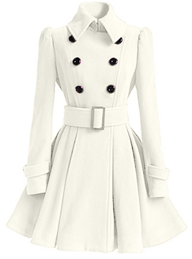 Coat Dress - Double Breasted / Retro Wide Belted / Contrasting .