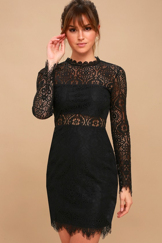 Appetite for Seduction Black Lace Long Sleeve Dress | Bodycon .