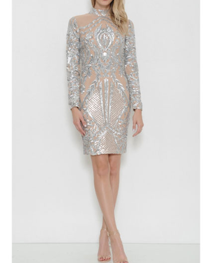 Silver Sequins Cocktail Dress, Balmain Silver Dress, Long Sleeve .
