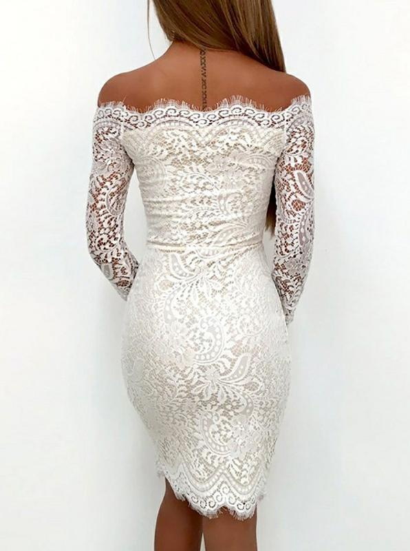 White Cocktail Dresses,Cocktail Dress with Sleeves,Lace Cocktail .