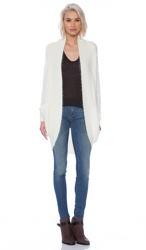 MINKPINK Fuzzy Cocoon Cardigan in White | REVOL