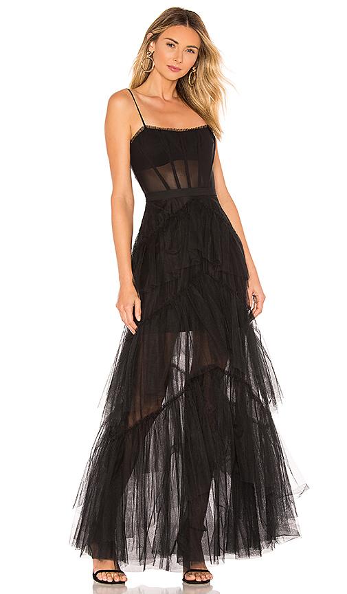 BCBGMAXAZRIA Corset Tulle Gown in Black | REVOL