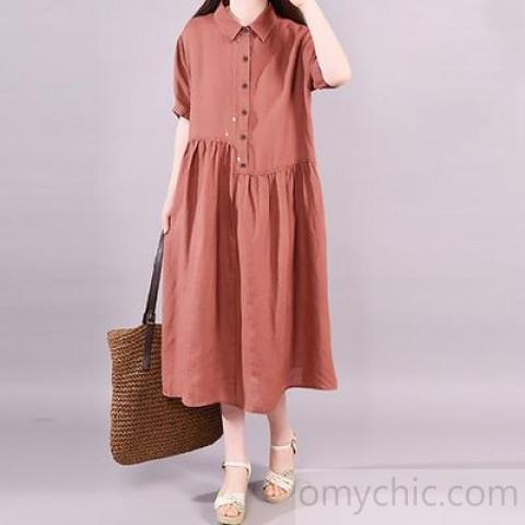 Organic linen cotton dresses Korea POLO Collar Loose Dress - Short .