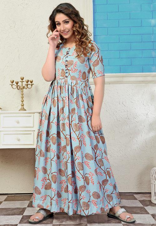 Printed Muslin Cotton Maxi Dress in Light Blue : TGW14