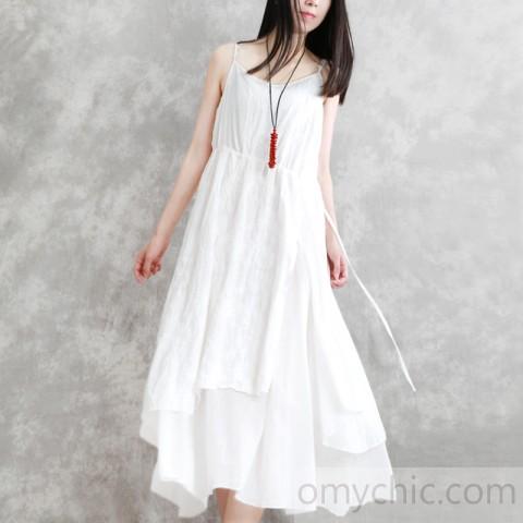 2018 white embroidery cotton dresses oversized sleeveless cotton .