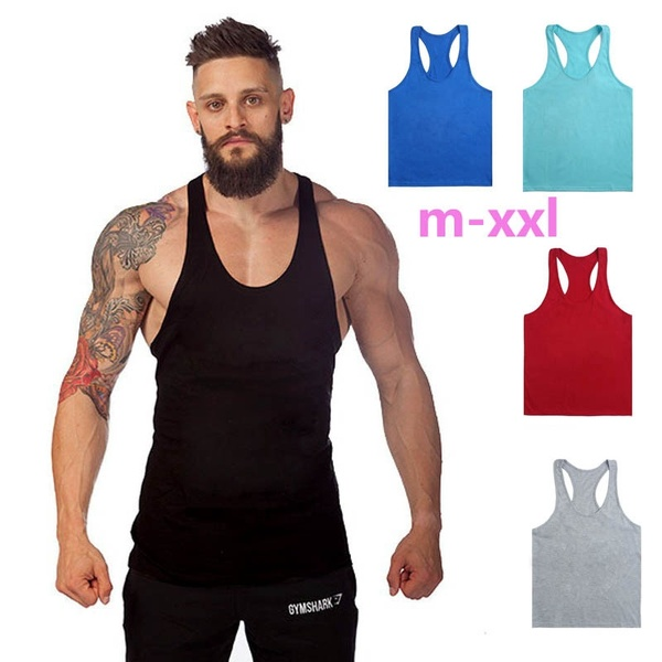 Men GYM Fitness Mens Sleeveless Shirt Sports Vests Cotton Tops | Wi