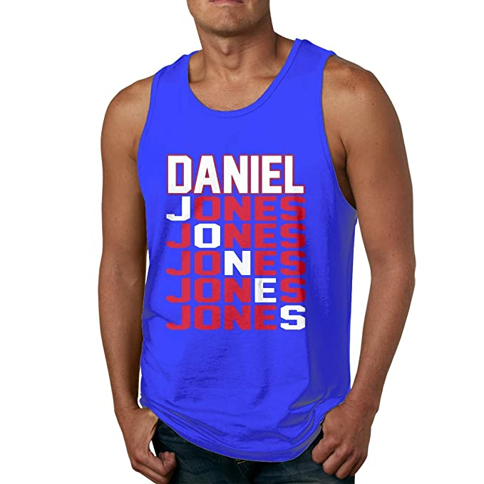 Men's Sleeveless Tank Top Shirts Blue New York Jones Text Cotton .
