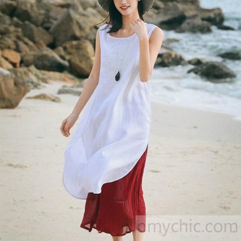 Bohemian white linen dresses Pakistani Runway o neck Sleeveless .