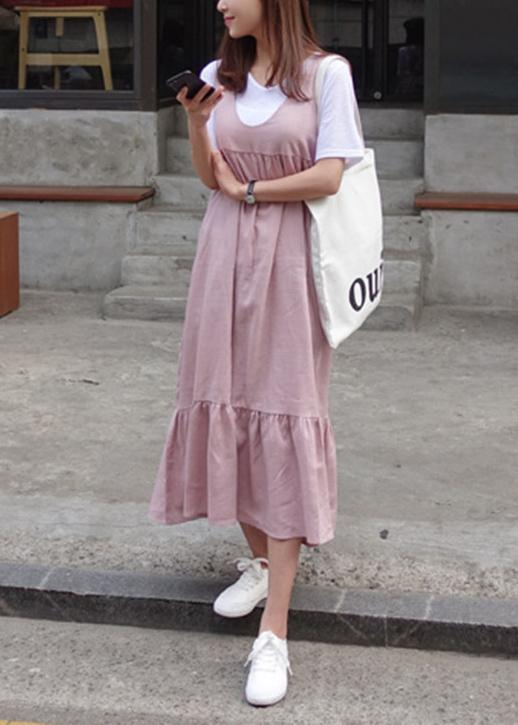 Unique Ruffles Bow cotton summer dresses Work Outfits pink Dresses .