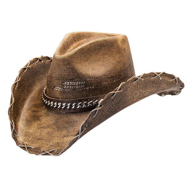 Stampede Hats | Black Stained Cowboy Hat with Chain Hat Band .