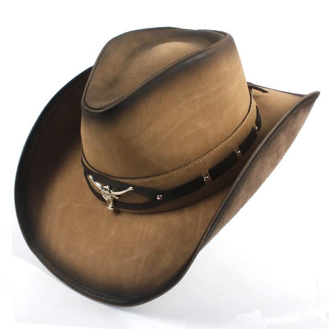 100% Leather Black Men Western Cowboy Hat For Gentleman Dad Cowboy .