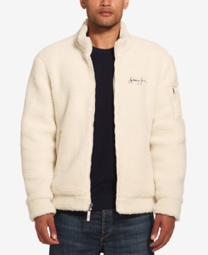 Sean John Men's Fleece Bomber Jacket In Cream | ModeSe