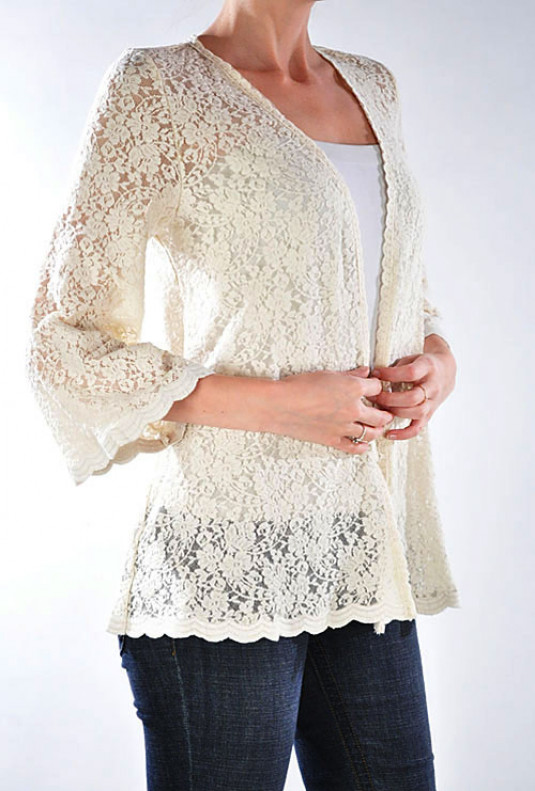 Jacket - Courtship Adoration 3/4 Sleeve Lace Open Jacket in Cream .