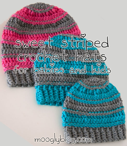Sweet Striped Crochet Hat - Free Pattern on Moogly for Babies and .