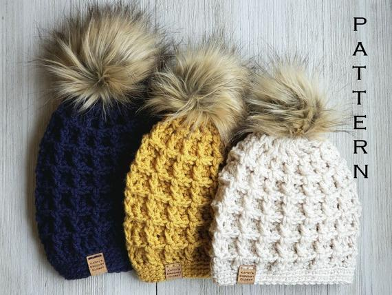 Crochet Hat PATTERN Market Waffle Hats Mommy and Me Hats | Et