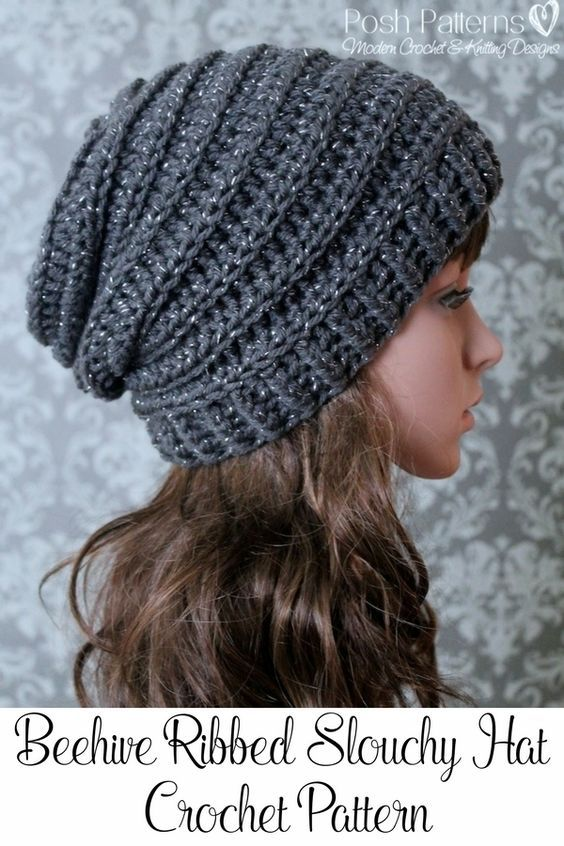 Crochet PATTERN - Easy Crochet Pattern - Crochet Slouchy Hat .