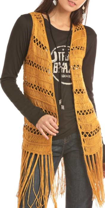 Crochet Vest With Frin