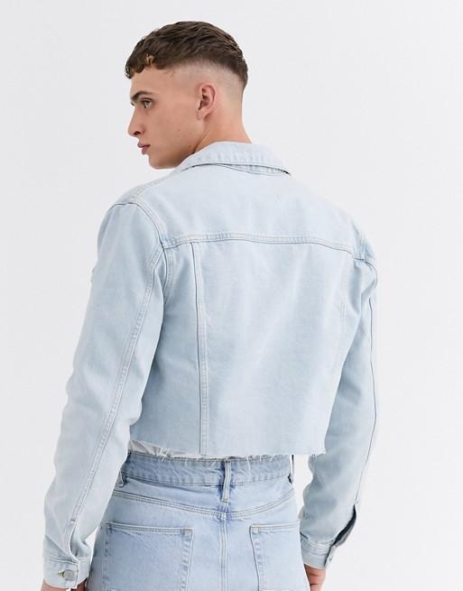 ASOS DESIGN two-piece cropped denim jacket in light wash blue | AS