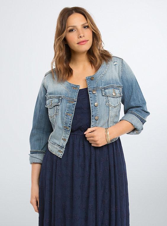 Plus Size - Cropped Denim Jacket - Torr