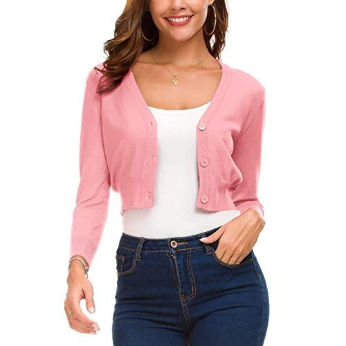 Pink Cropped Sweater: Amazon.c