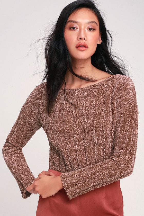 Cute Brown Sweater - Chenille Sweater - Cropped Sweat