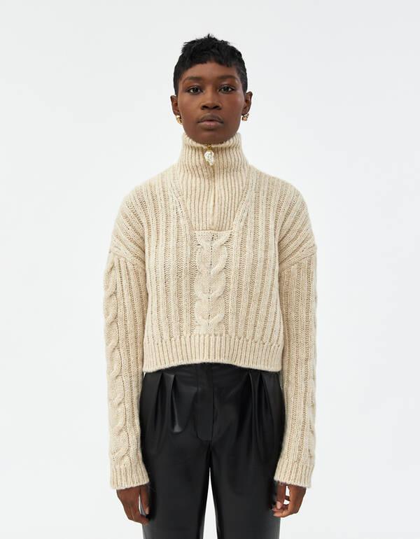 Nanushka Eria Cropped Sweater in Beige | Need Supply C
