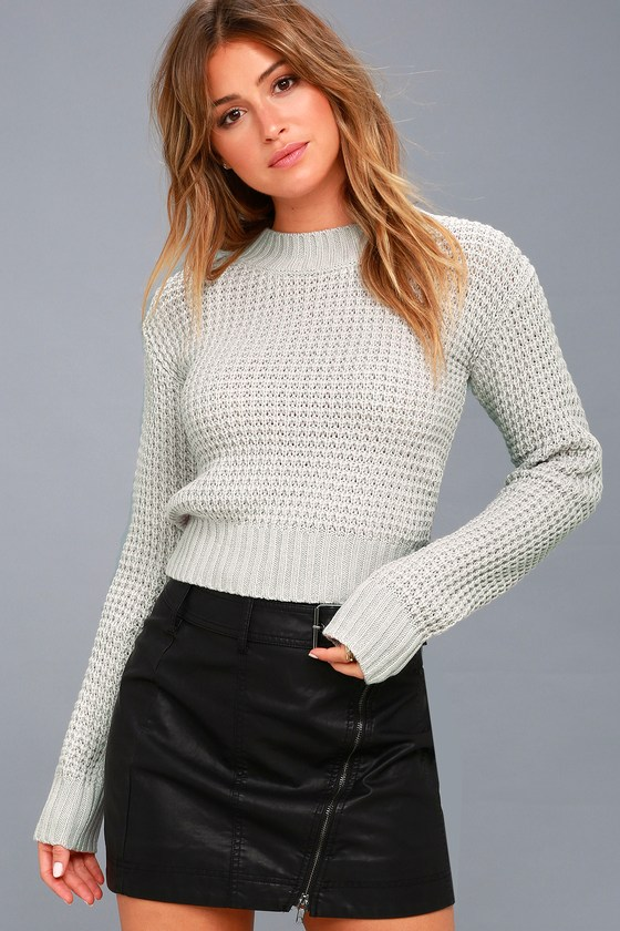 Cute Sweater - Light Grey Sweater - Cropped Sweat