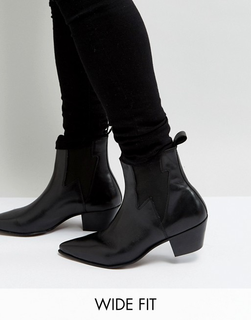 ASOS DESIGN Wide Fit cuban heel western boots in black leather .