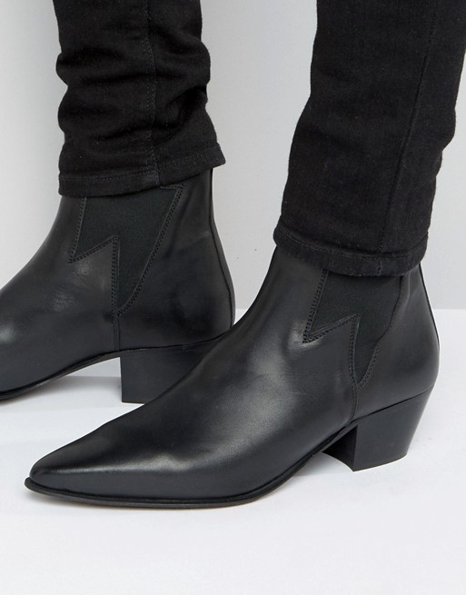 ASOS DESIGN cuban heel western boots in black leather with .