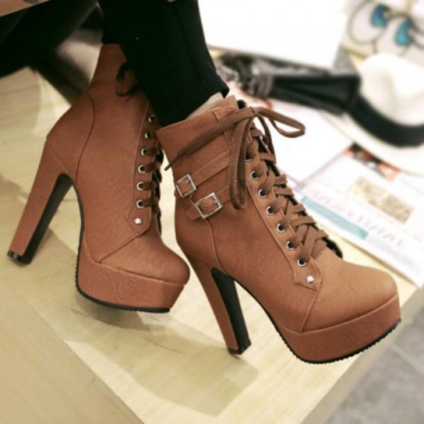 shoes, high heels, brown, cute, fashion, trendy women's high heel .