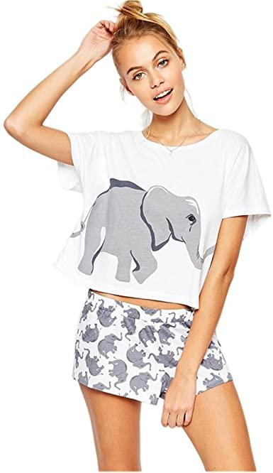 Sets Elephant Pajamas Women Cotton Home Wear Cute Sleep T Shirt .