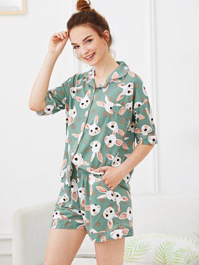 Rabbit Print Polka Dot Pajama Set in 2020 | Pajama set, Pajamas .