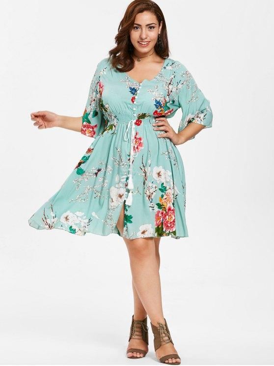 35% OFF] 2020 Floral Shirred Waist Plus Size Dress In LIGHT CYAN .