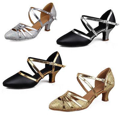 Brand New Women's Latin Dance Shoes Ballroom Tango Heeled Salsa .
