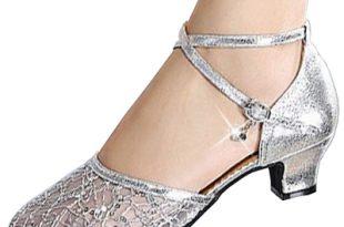Women's Mesh Cross Strap Low Heels Ballroom Dancing Shoes .