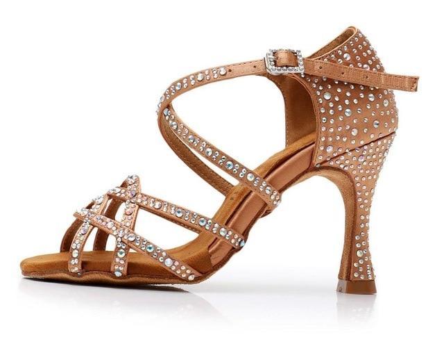 DILEECHI Latin dance shoes women NEW Bronze satin Shining .