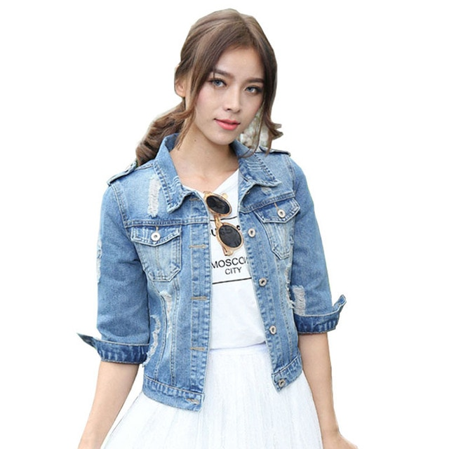 Plus Size Denim Jacket For Women Three Quarter Short Jeans Jacket .