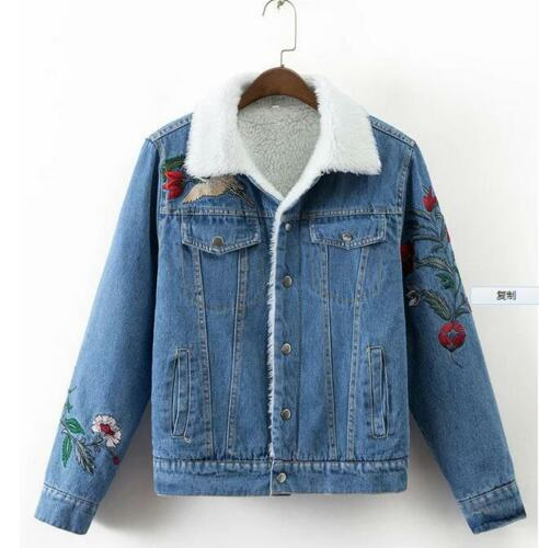 Fashion Winter Floral Embroidered Brushed Denim Jacket Womens Jean .