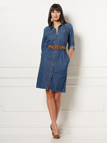 NY&C: Oakley Denim Shirtdress - Eva Mendes Collecti