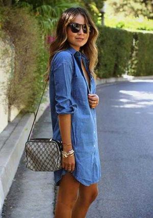 Classic Denim Shirt Dress Long Sleeve Tee Dresses for Women .