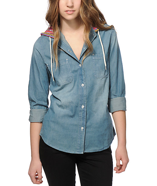 Empyre Lani Multi Stripe & Denim Hooded Shirt | Zumi