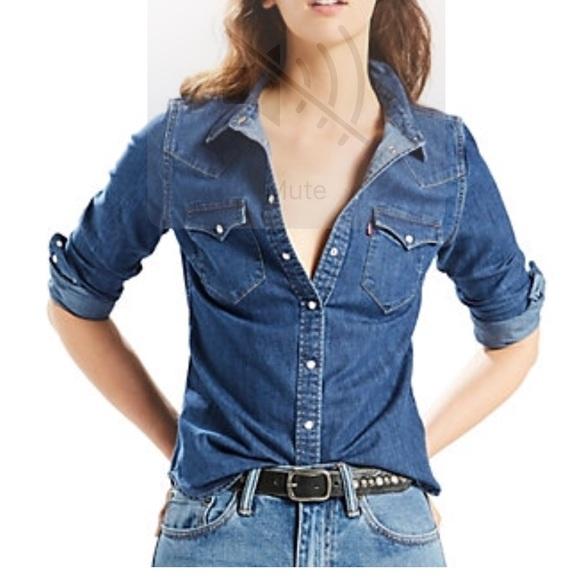 Levi's Tops | Levis Womens Tailored Clssic Denim Shirt | Poshma
