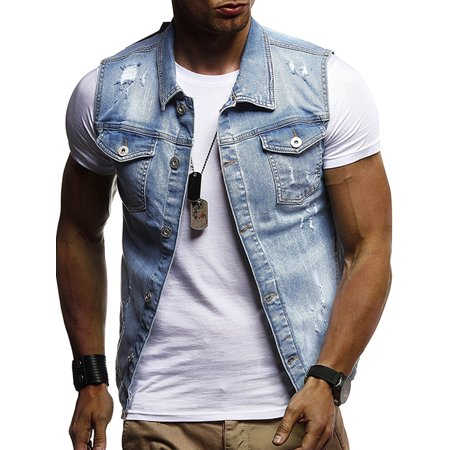 JDinms - JDinms Men's Fit Retro Ripped Denim Vest Sleeveless Jean .