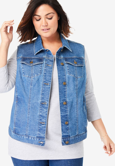 Stretch Denim Vest| Plus Size Vests | Woman With