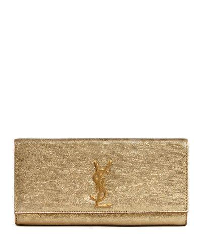 V1SAN Saint Laurent Cassandre Metallic Logo Clutch Bag, Gold (With .